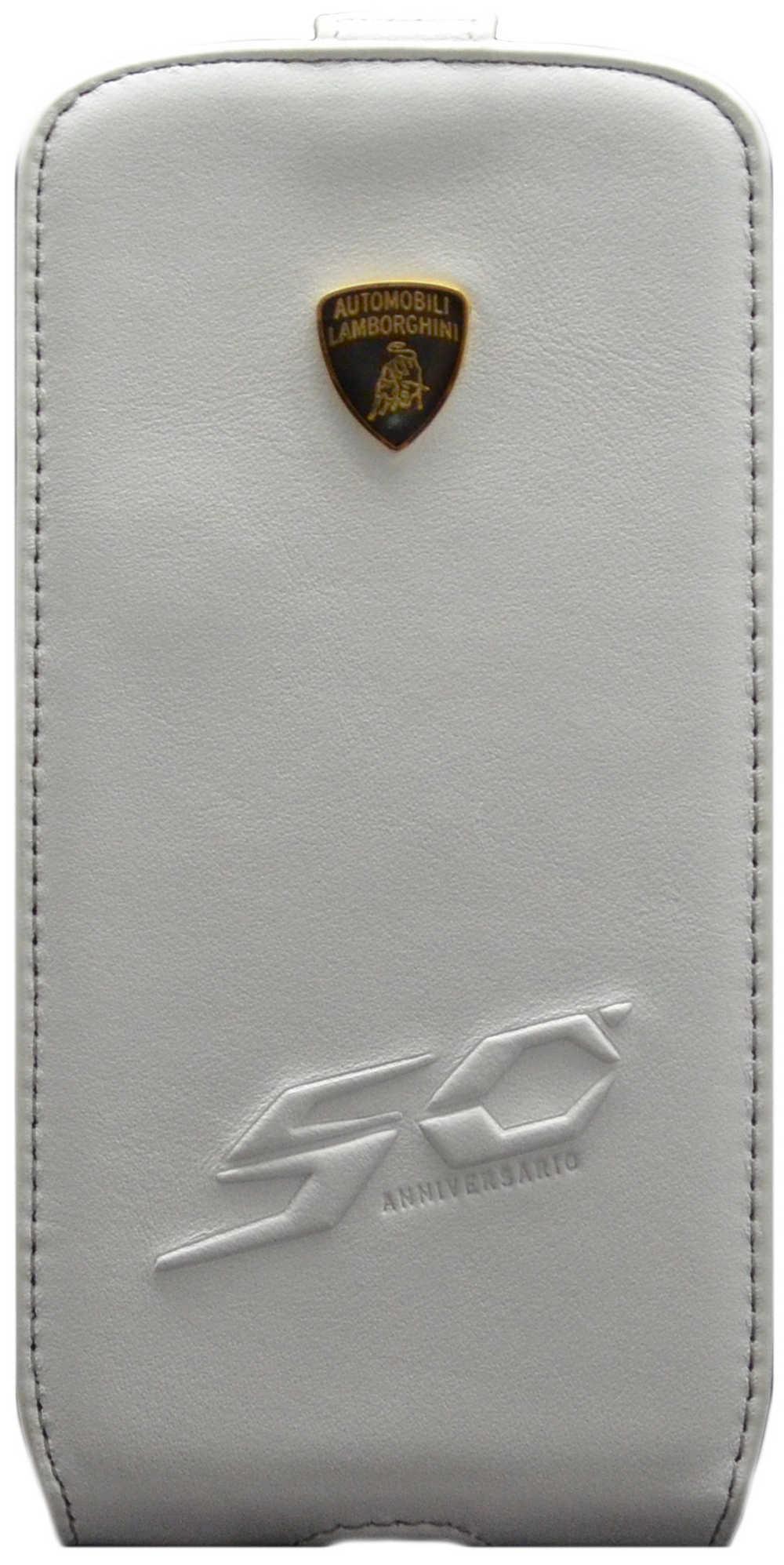 Θήκη Flip Δέρμα Lamborghini για Samsung i9505/i9500 Galaxy S4 50th Anniversary Λευκή