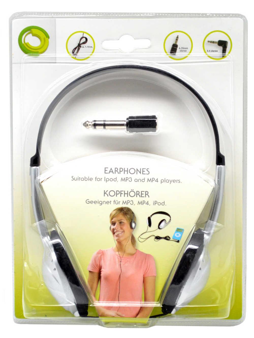 Ακουστικά Stereo Lifetime 3,5mm Μαύρο - Ασημί με Αντάπτορα Βίσματος 6,35mm