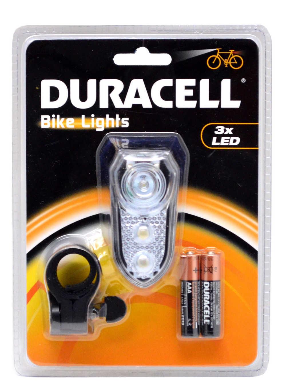 Φακός Ποδηλάτου Duracell 3 Led με Μπαταρίες AAA 2 Τεμ.