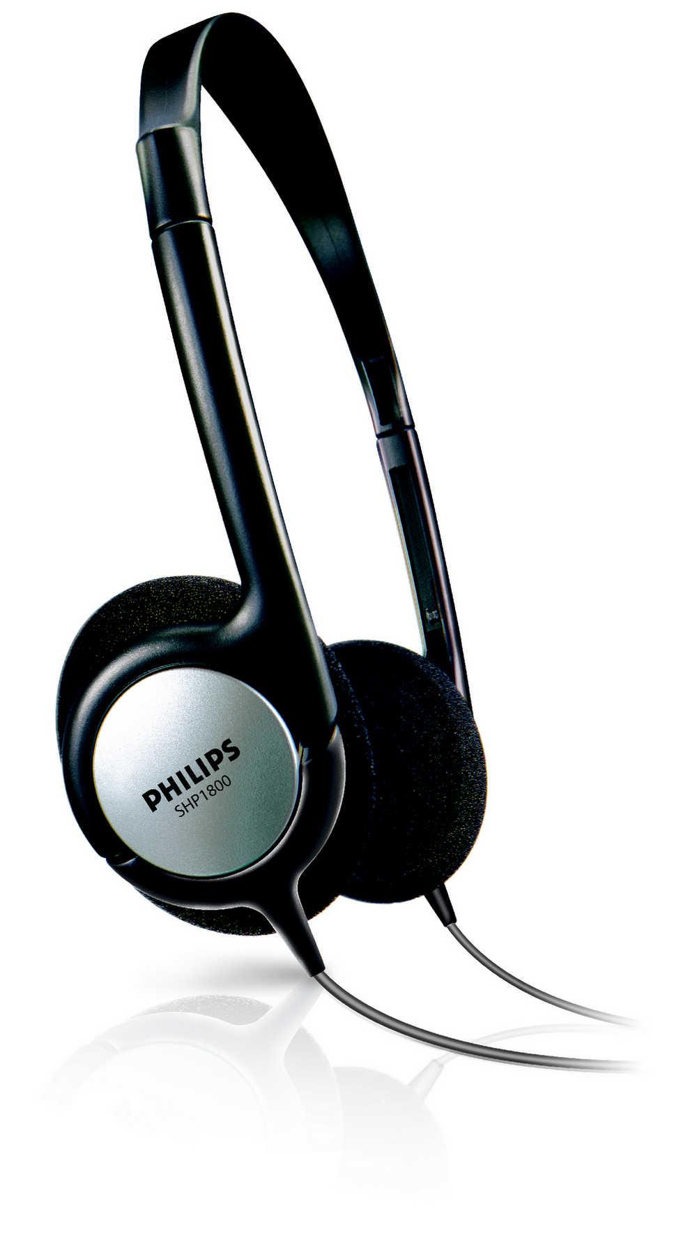 Ακουστικά Stereo TV Philips SHP1800 3.5 mm Μαύρα με Αντάπτορα 6.3 mm και Καλώδιο 6 m για Συσκευές Ήχου