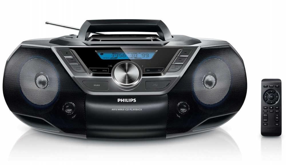 Φορητό Ράδιο CD Philips AZ780/12 Μαύρο με Θύρα USB και Ψηφιακό Ραδιόφωνο