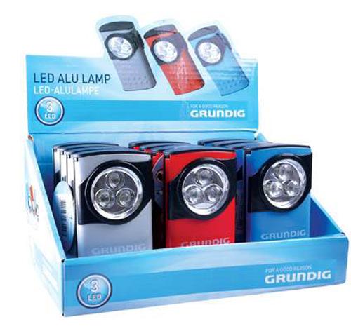 Φακός Αλουμινίου Grundig 3 Led με Μπαταρίες AAA σε Διάφορα Χρώματα