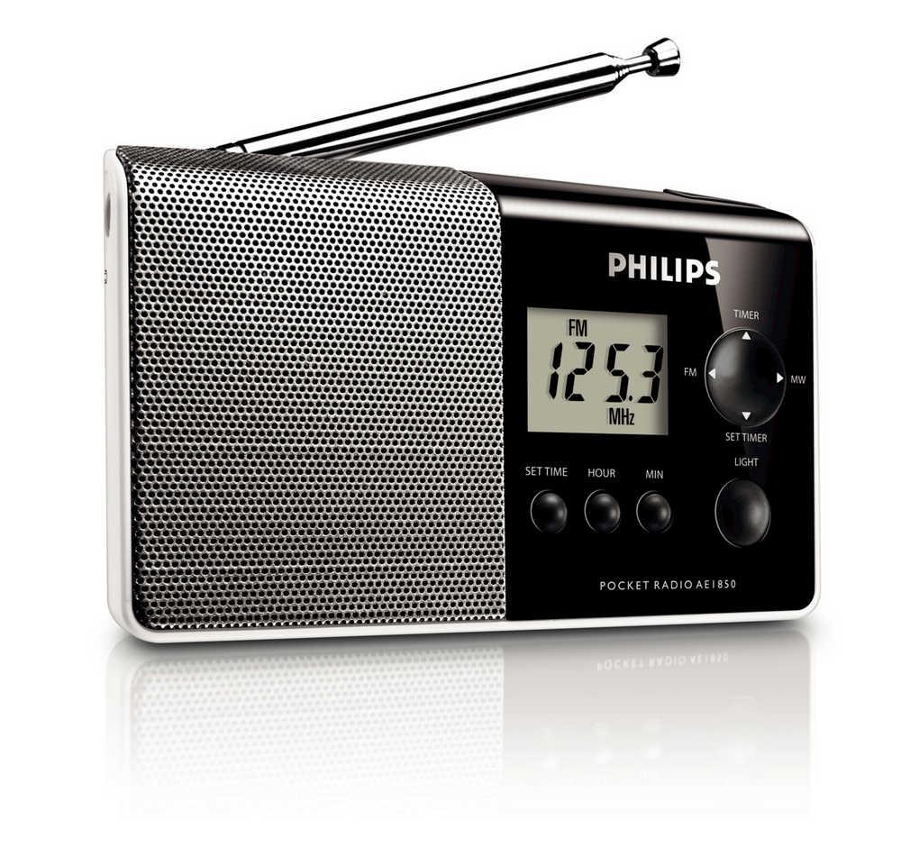 Φορητό Ψηφιακό Ραδιόφωνο FM/MV Philips AE1850 Μαύρο - Ασημί