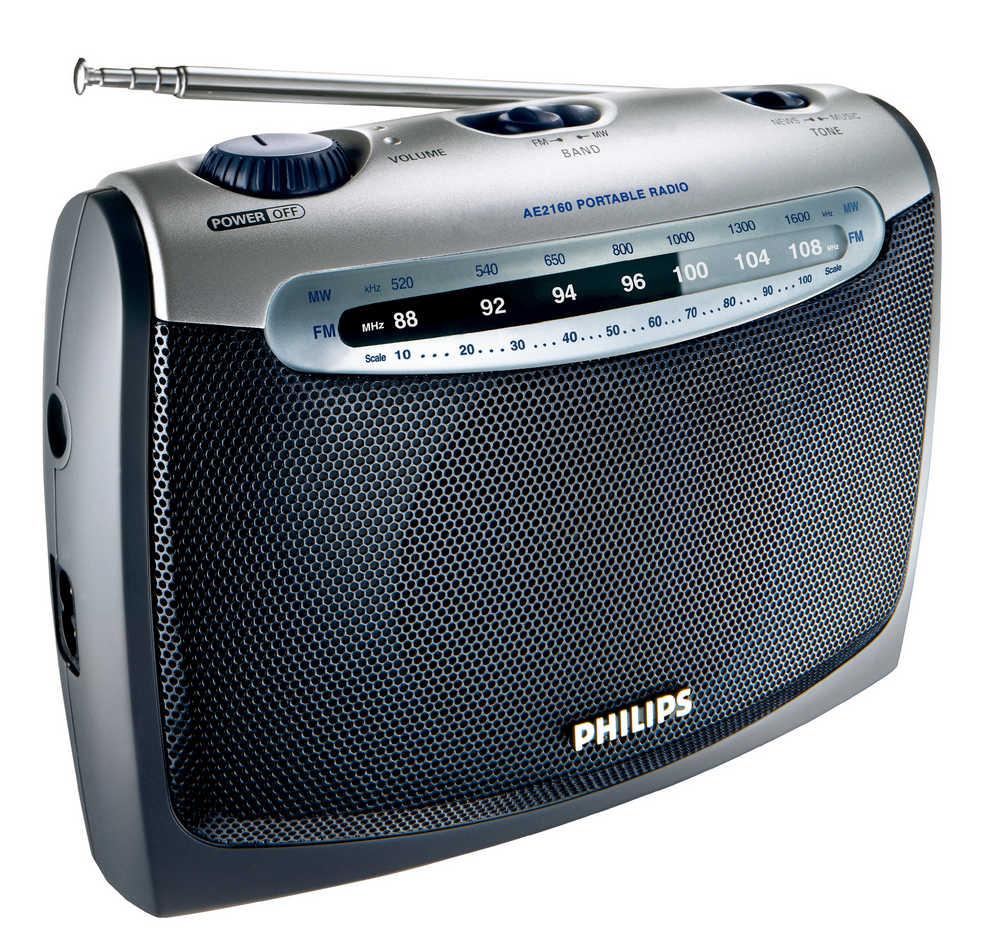 Φορητό Αναλογικό Ραδιόφωνο FM/MV Philips AE2160 με Λειτουργία Μπαταρίας - Ρεύματος  Γκρί - Ασημί