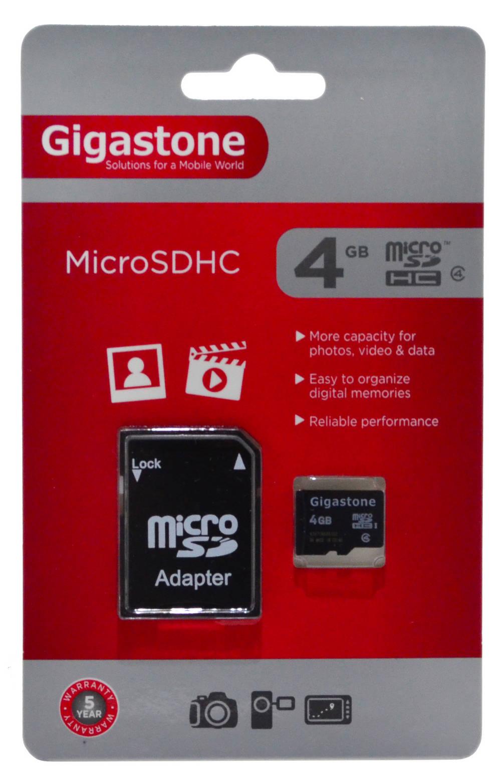 Κάρτα Μνήμης Gigastone MicroSDHC 4GB Class 4 με SD Αντάπτορα
