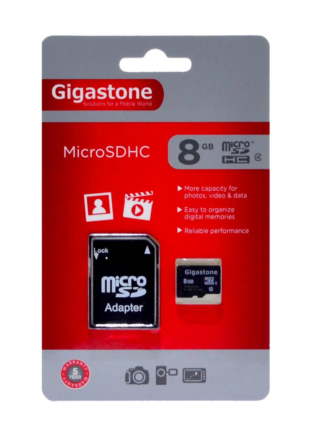 Κάρτα Μνήμης Gigastone MicroSDHC 8GB Class 4 με SD Αντάπτορα