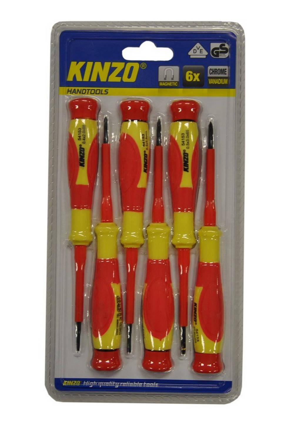 Κατσαβίδια Kinzo 54153 Σέτ 6 Τεμαχίων Μαγνητικά Κόκκινο - Κίτρινο