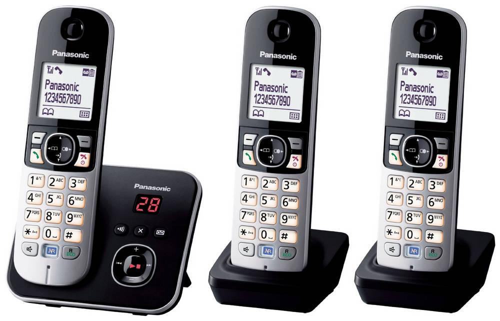 Ασύρματο Ψηφιακό Τηλέφωνο Panasonic KX-TG6823GB Trio Ασημί - Μαύρο με Τηλεφωνητή και Λειτουργία Eco