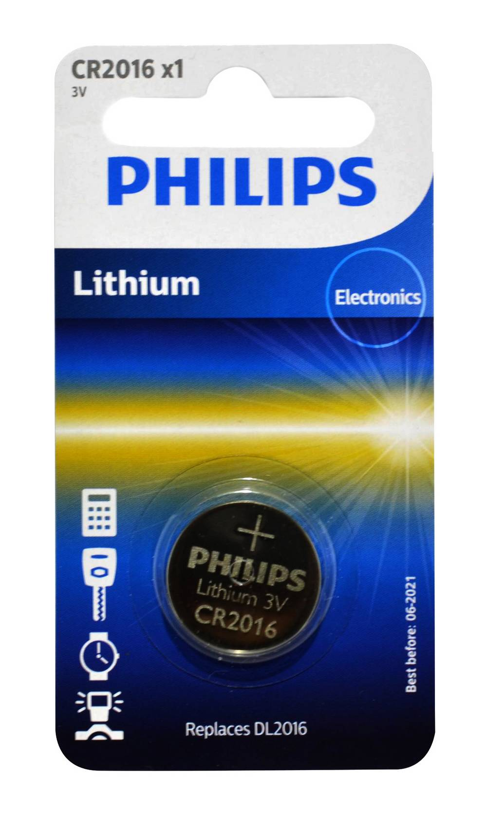 Buttoncell Lithium Electronics Philips CR2016 Τεμ. 1
