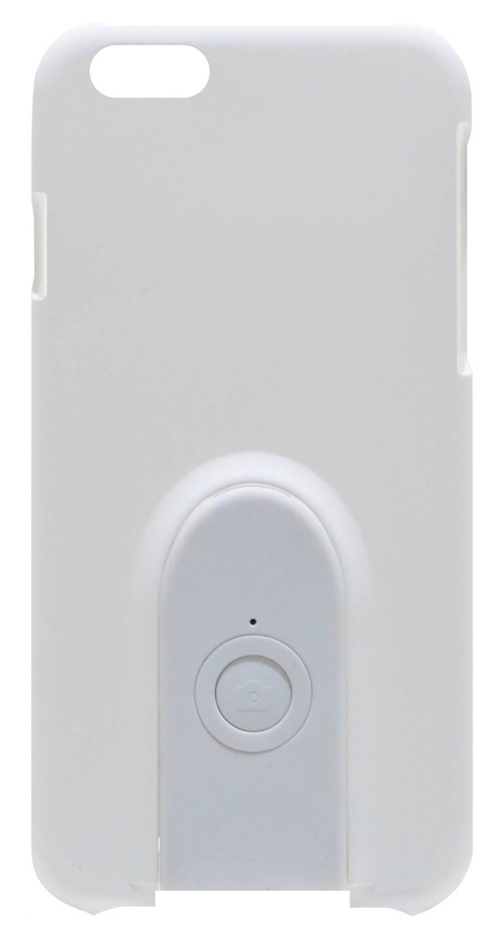 Θήκη Faceplate Monopod Wireless Selfie για Apple iPhone 6/6S Velvet Feel Λευκή με Αποσπώμενο Χειριστήριο Bluetooth
