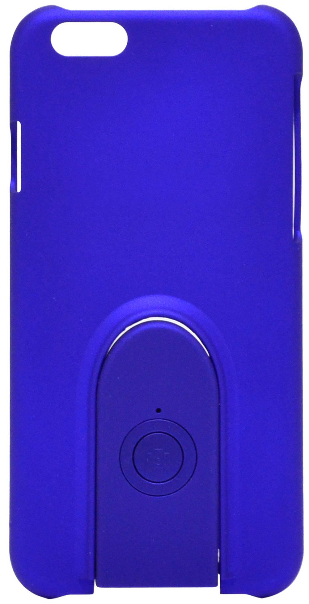 Θήκη Faceplate Monopod Wireless Selfie για Apple iPhone 6/6S Velvet Feel Μπλέ με Αποσπώμενο Χειριστήριο Bluetooth