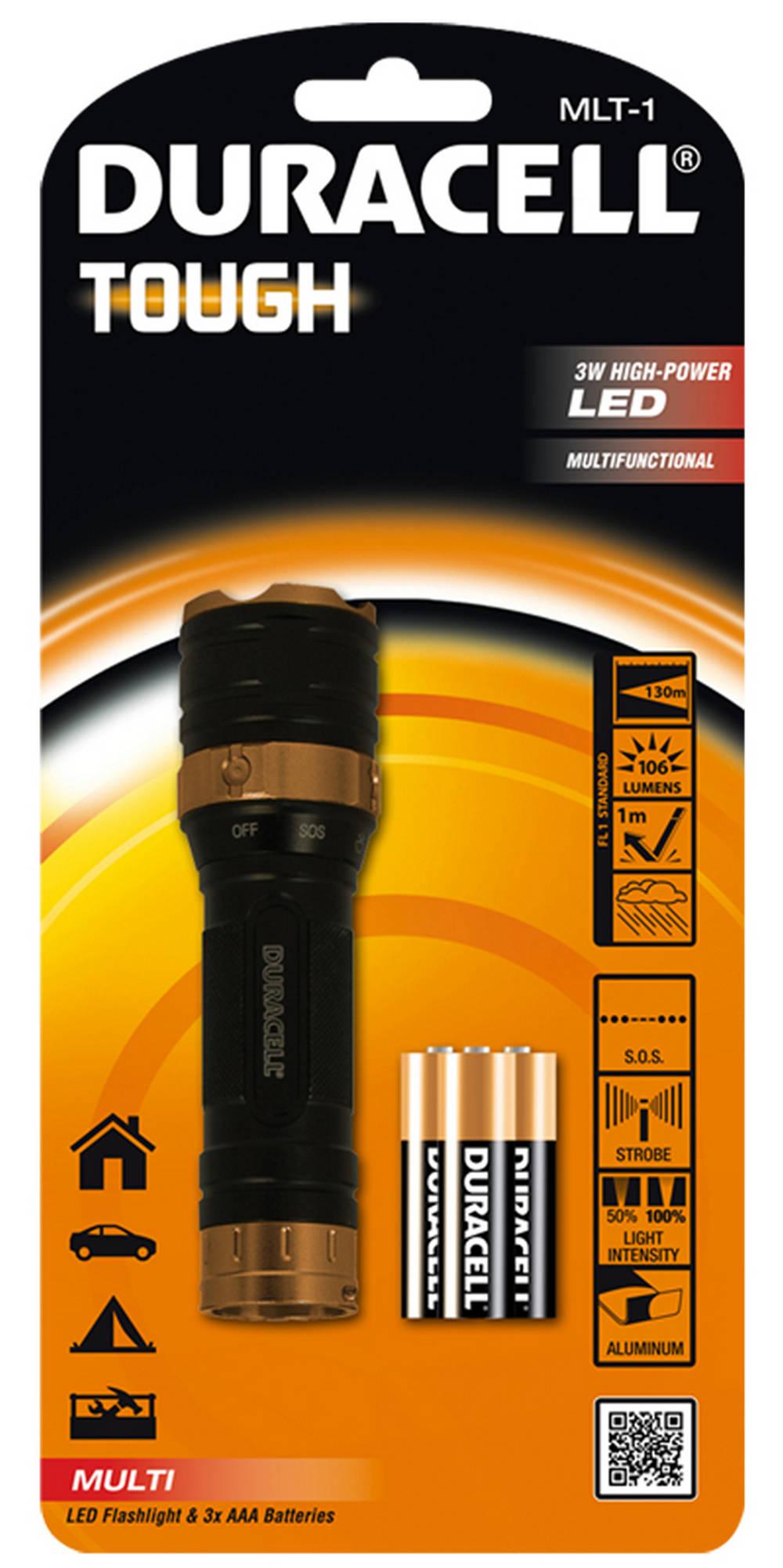Φακός Αλουμινίου Duracell Tough 3W High-Power Led Αδιάβροχος Μαύρος MLT-1 / 106 Lumens/Απόσταση 130m