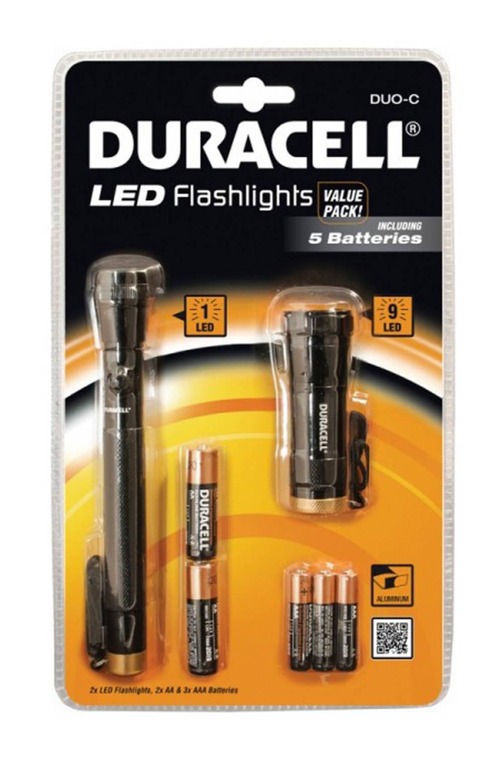 Σέτ Φακών Led Duracell 2 Τεμαχίων με Μπαταρίες AA 2 Τεμ + AAΑ 3 Τεμ
