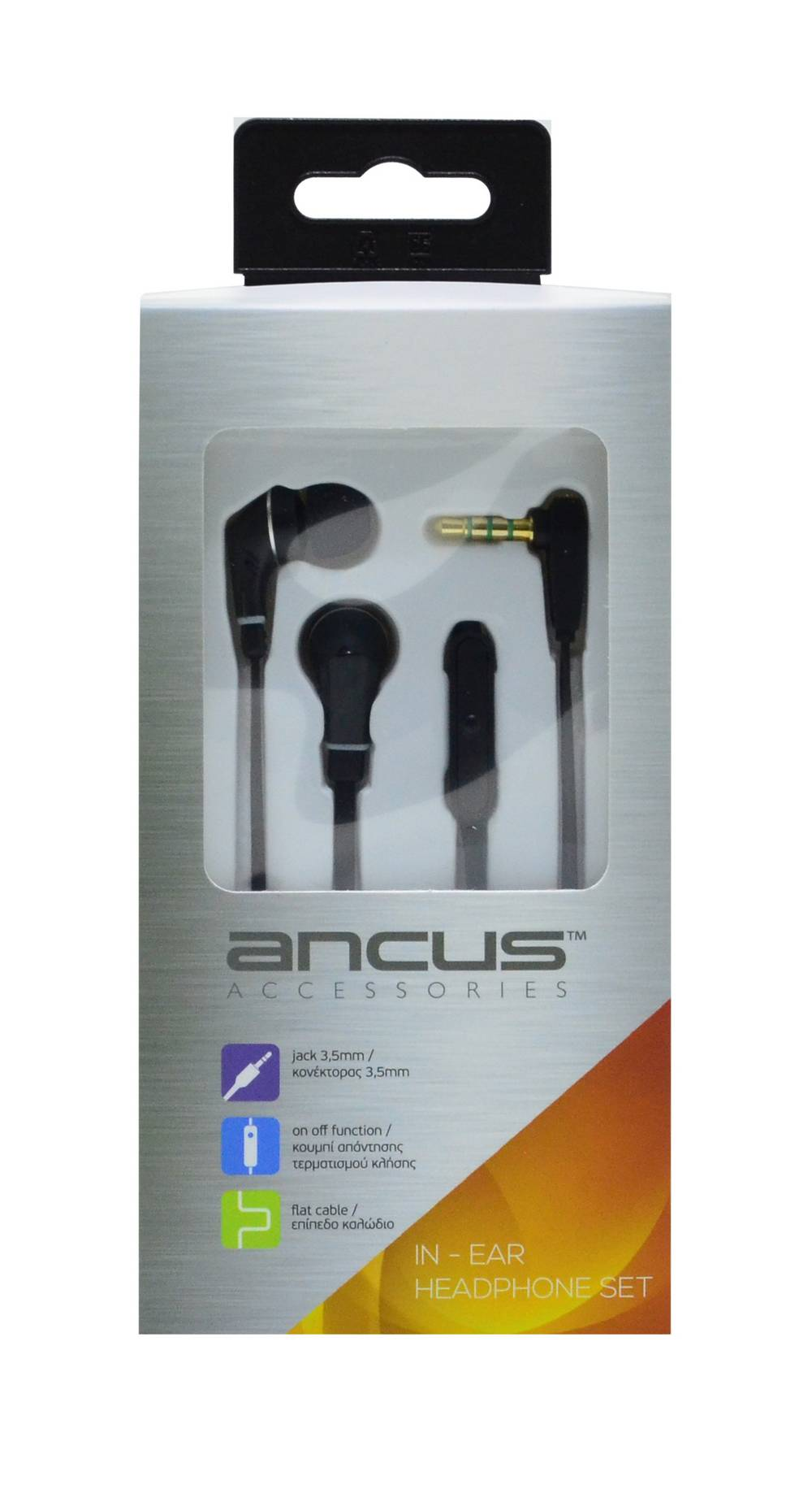Hands Free Ancus Loop in-Earbud Stereo 3.5 mm για Apple-Samsung-HTC-Sony Μαύρο με Καλώδιο Πλακέ, Πλήκτρο Απάντησης