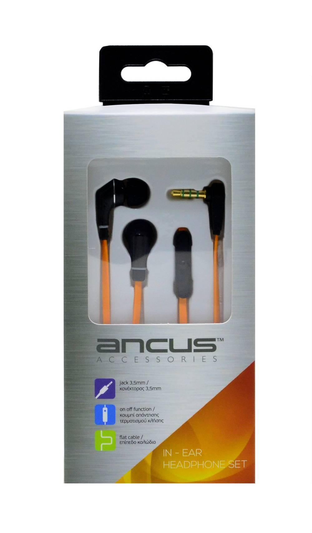 Hands Free Ancus Loop in-Earbud Stereo 3.5 mm για Apple-Samsung-HTC-Sony Πορτοκαλί με Καλώδιο Πλακέ, Πλήκτρο Απάντησης