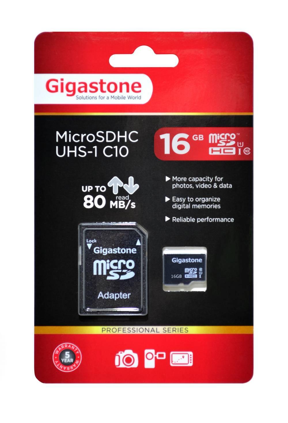 Κάρτα Μνήμης Gigastone MicroSDHC UHS-1 16GB C10 Professional Series με SD Αντάπτορα up to 80 MB/s*