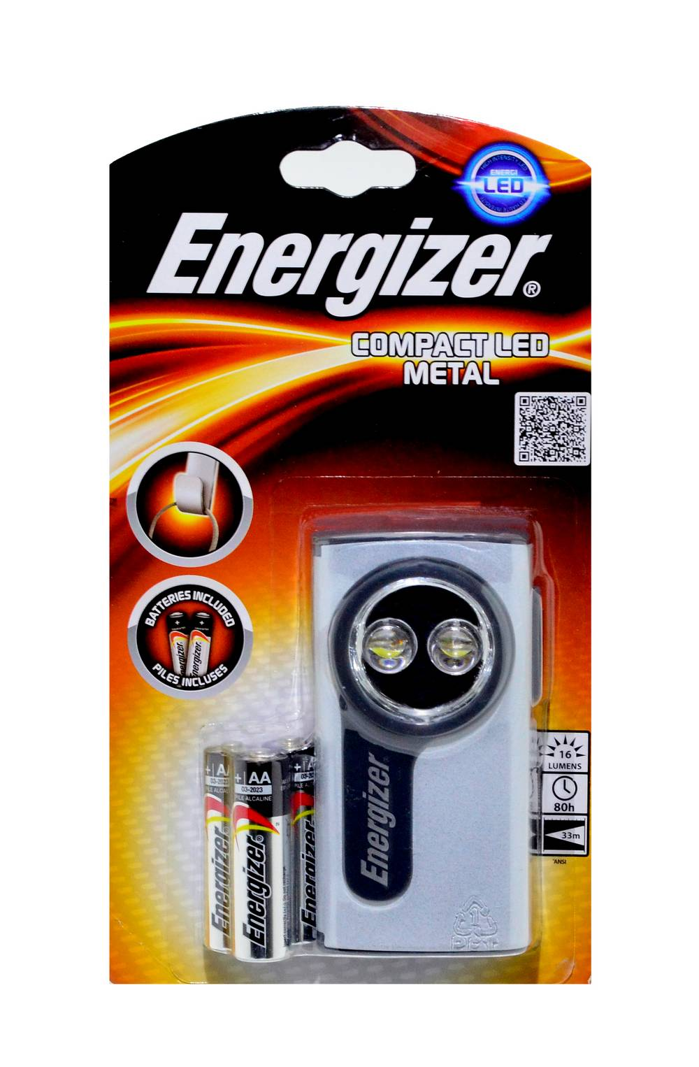 Φακός Μεταλλικός Energizer 2 Led 16 Lumens με Μπαταρίες AA σε Διάφορα Χρώματα
