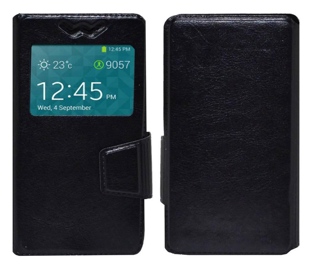 """Θήκη Book Ancus S-View Elastic Universal για Smartphone 4.9"""" - 5.2"""" με Παράθυρο Μαύρη"""