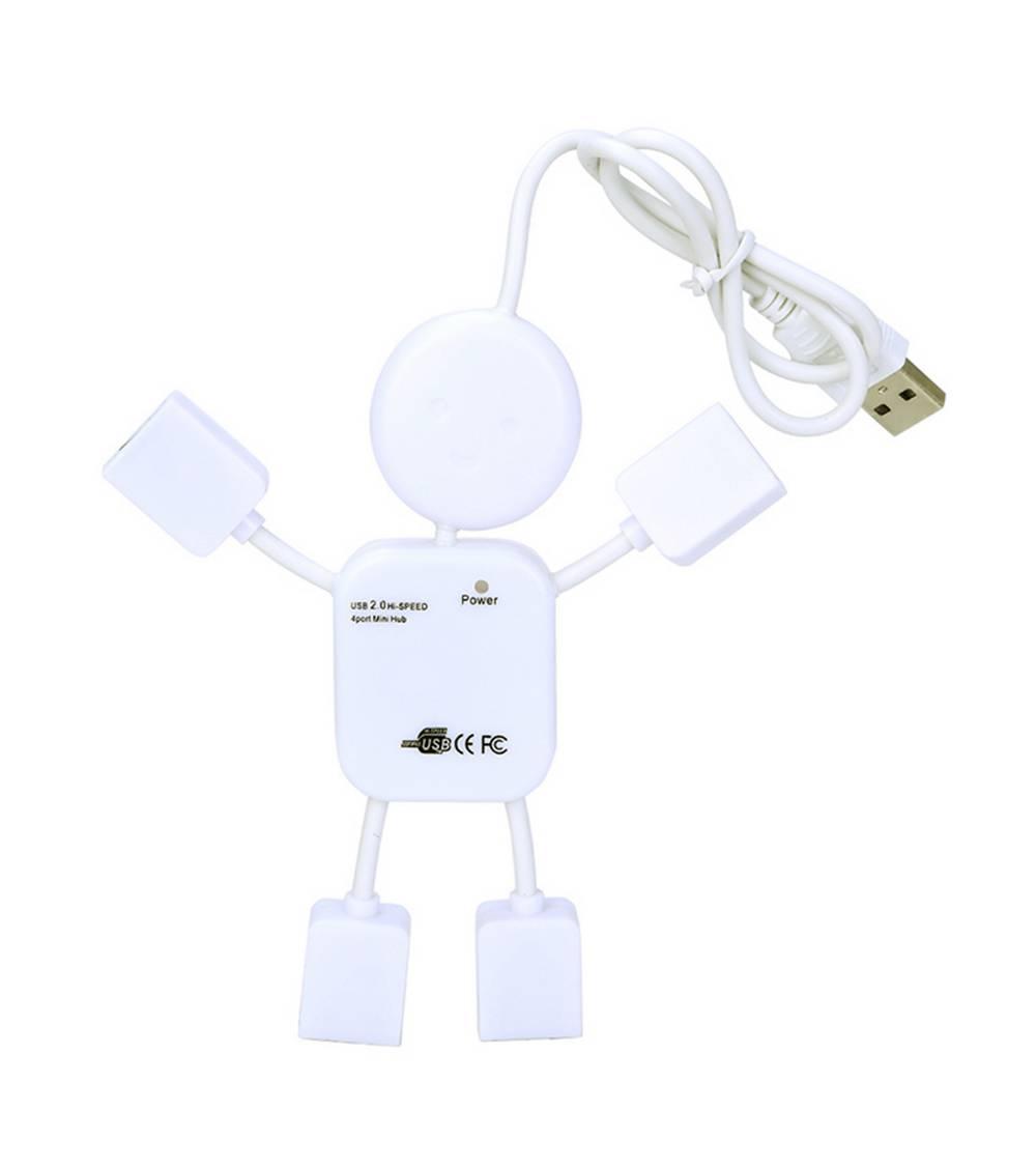 USB 2.0 Hub Human 4 Θέσεων Λευκό