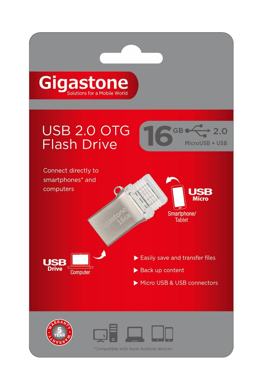 Gigastone Premium USB 2.0 Flash Drive 16GB OTG για Smartphones & Tablet U205