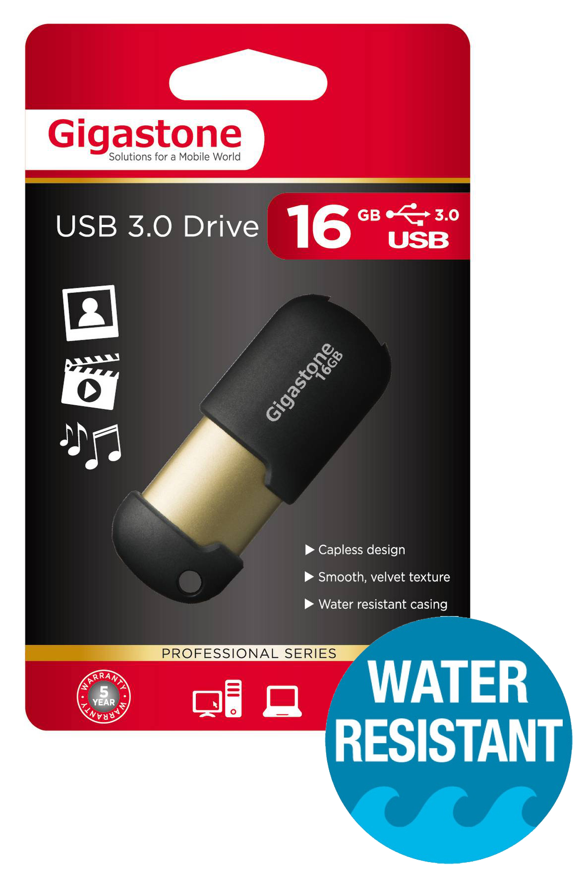 USB 3.0 Gigastone Flash Drive U307 16GB Μαύρο Professional Series Velvet Frame