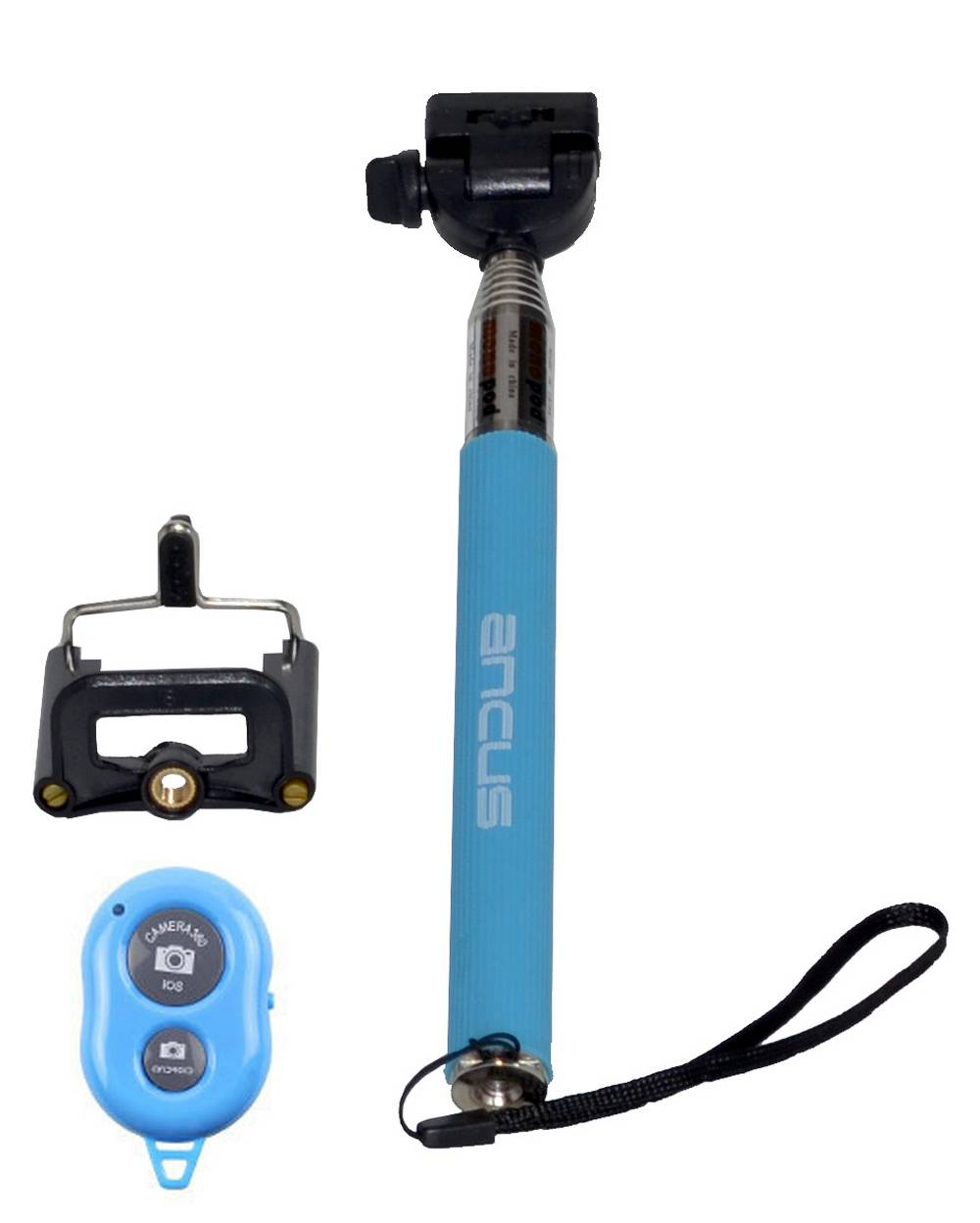 Selfie Stick Ancus Colour Bluetooth Μπλε με χειριστήριο (Μήκος Κονταριού 20cm, Μήκος Ανοίγματος 97cm)