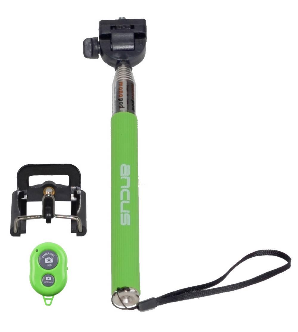 Selfie Stick Ancus Colour Bluetooth Πράσινο με χειριστήριο (Μήκος Κονταριού 20cm, Μήκος Ανοίγματος 97cm)