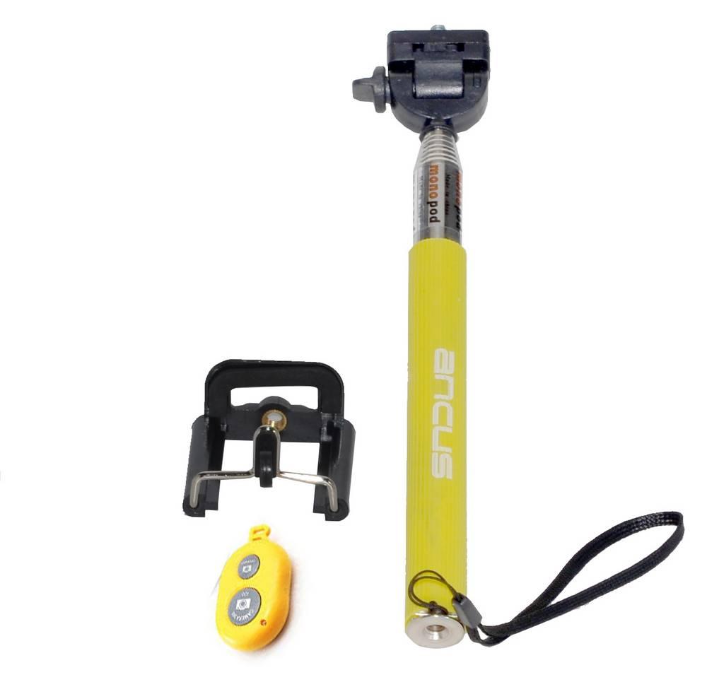 Selfie Stick Ancus Colour Bluetooth Κίτρινο με χειριστήριο (Μήκος Κονταριού 20cm, Μήκος Ανοίγματος 97cm)