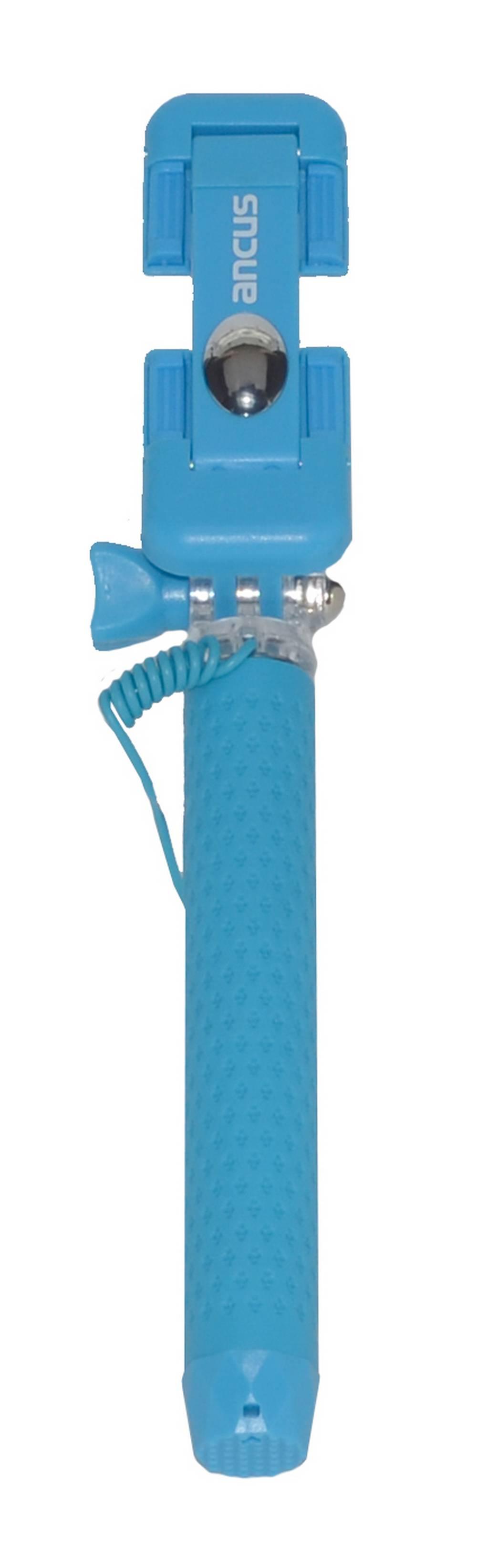 Selfie Stick Ancus Colour Μπλε με Καλώδιο Jack 3.5mm (Μήκος Κονταριού 13.5cm, Μήκος Ανοίγματος 65cm)