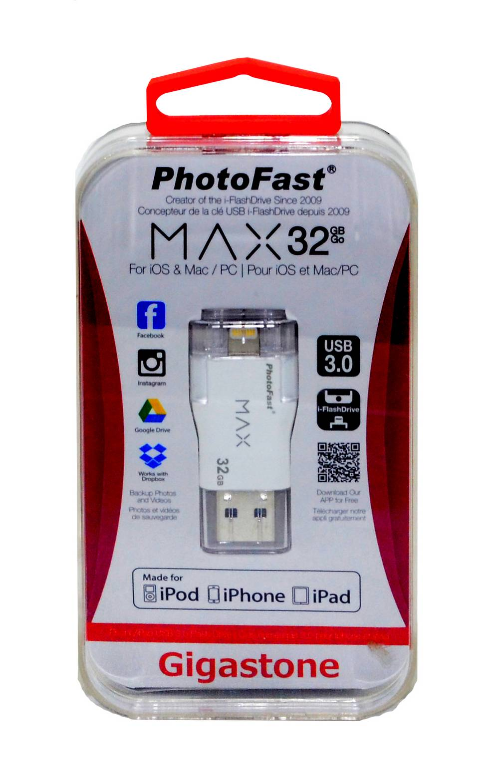 PhotoFast USB 3.0 i-FlashDrive Max 32GB OTG MFI για iPhone & iPad & iPod by Gigastone  PF-iFMAXU332GB-R