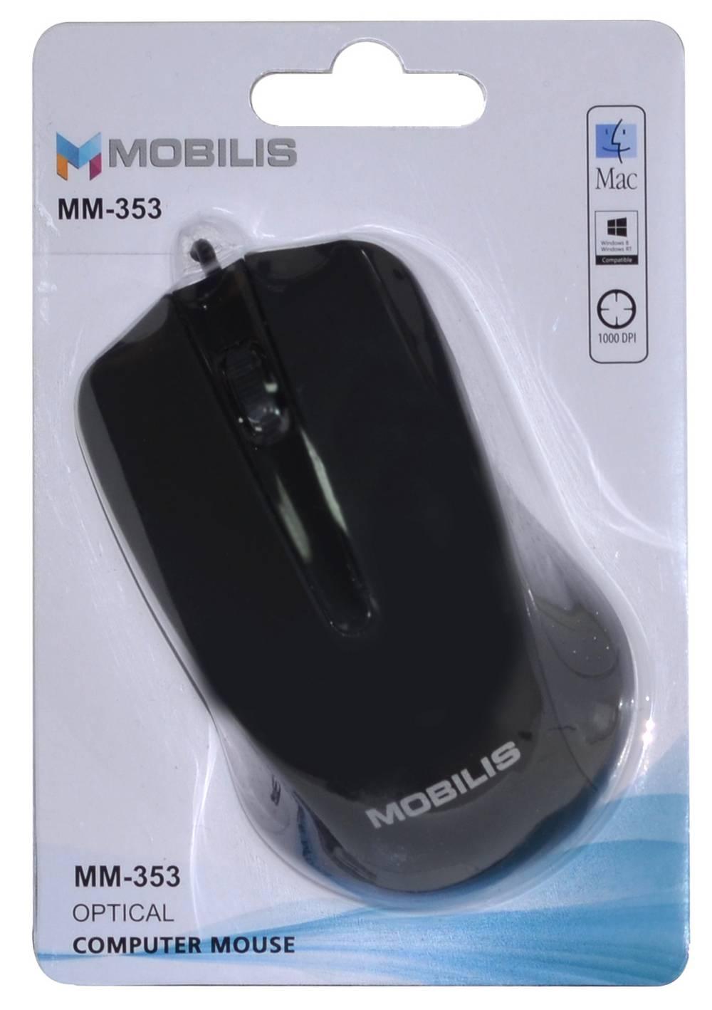 Ενσύρματο Ποντίκι Mobilis MM-353 3 Πλήκτρων 1000 DPI Μαύρο (104*66*39mm)