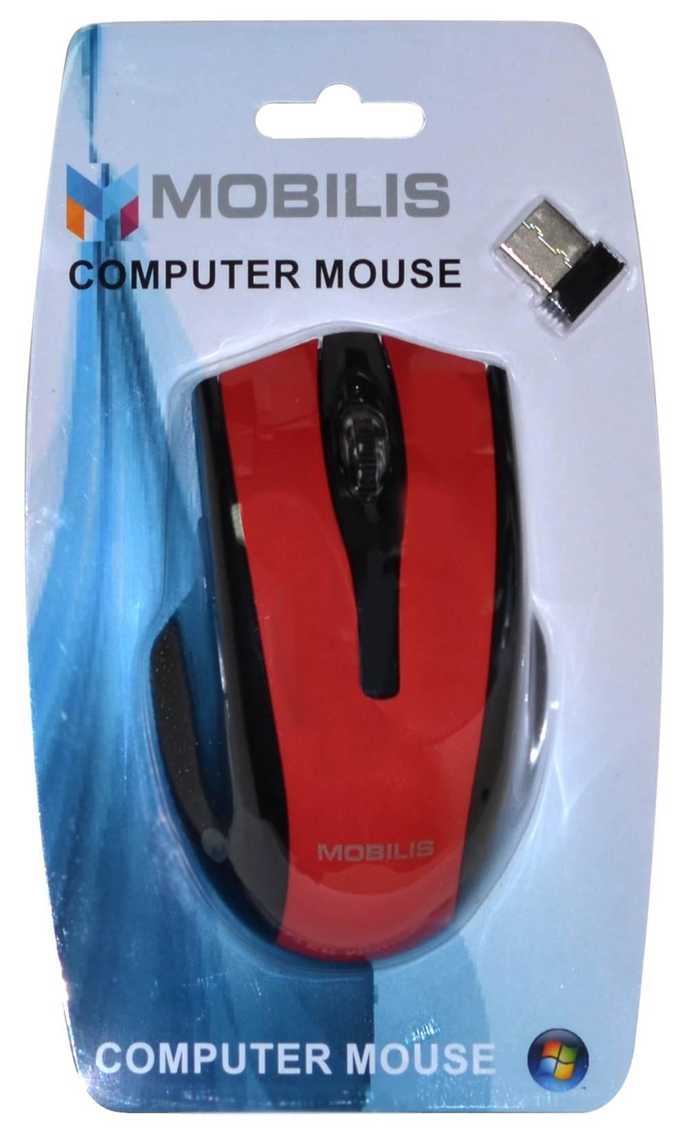 Ασύρματο Ποντίκι Mobilis MM-126 6 Πλήκτρων 1600 DPI Μαύρο - Κόκκινο (108*70*38mm)