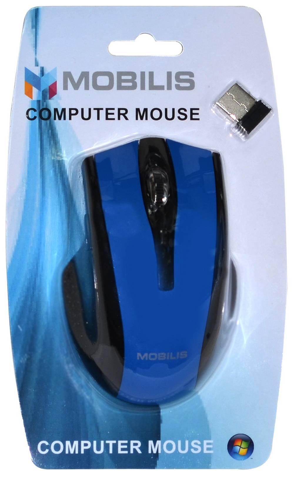 Ασύρματο Ποντίκι Mobilis MM-126 6 Πλήκτρων 1600 DPI Μαύρο - Μπλέ (108*70*38mm)