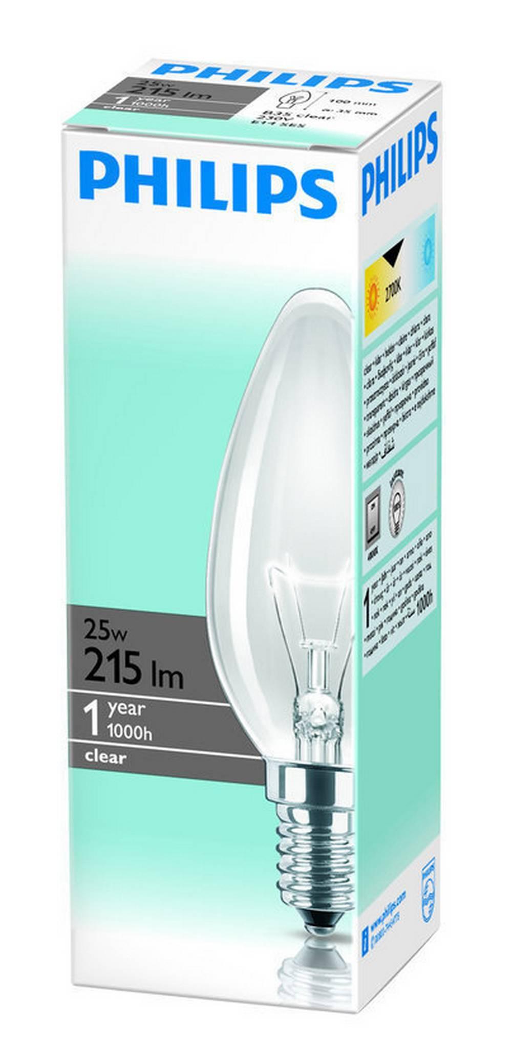 Λάμπα Κεράκι Philips Β35 Clear 25W 215 Lumen 230V