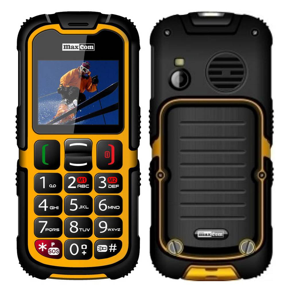 Maxcom MM910 (Dual Sim) Water-dust proof IP67 με Φακό, Ραδιόφωνο (Λειτουργεί χωρίς Handsfree) και Κάμερα Πορτοκαλί - Μαύρο
