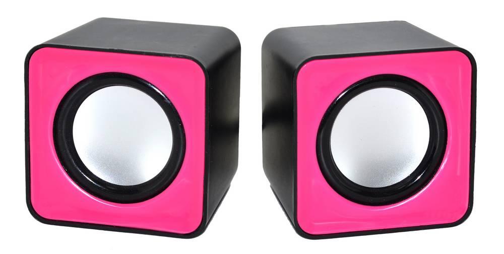 Ηχείο Stereo Nakai F-C1 2.5Wx2 RMS Μαύρο - Ρόζ με Τροφοδοσία USB 6x6x5.5cm