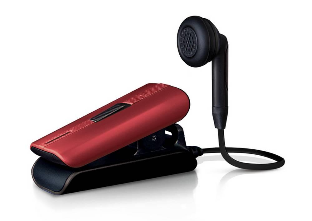 Bluetooth Hands Free Vieox Venturer V301 με Πλακέ Καλώδιο και Δόνηση Κόκκινο