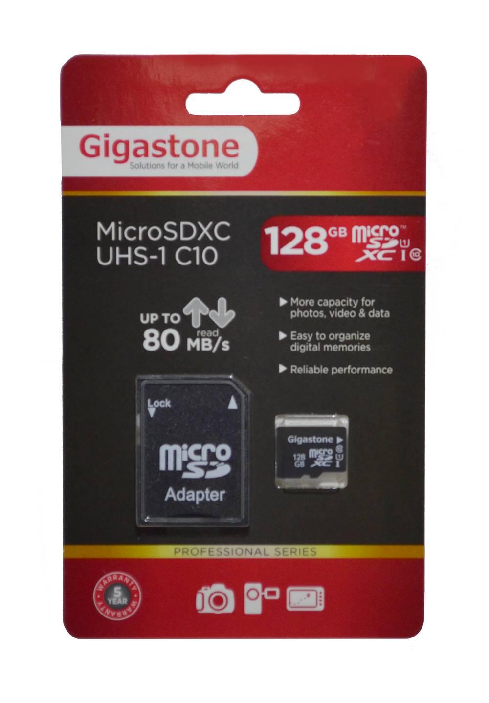 Κάρτα Μνήμης Gigastone MicroSDXC UHS-1 128GB C10 Professional Series με SD Αντάπτορα up to 80 MB/s*