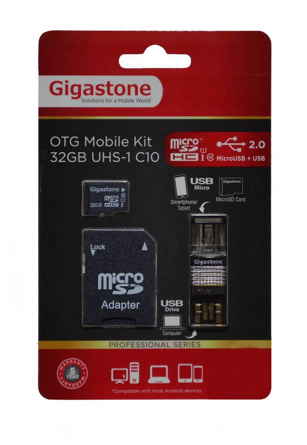 Κάρτα Μνήμης Gigastone MicroSDHC 32GB UHS-1 Class 10 Professional Series με SD Αντάπτορα + OTG Gigastone για Κάρτες Μνήμης Micro SD U102