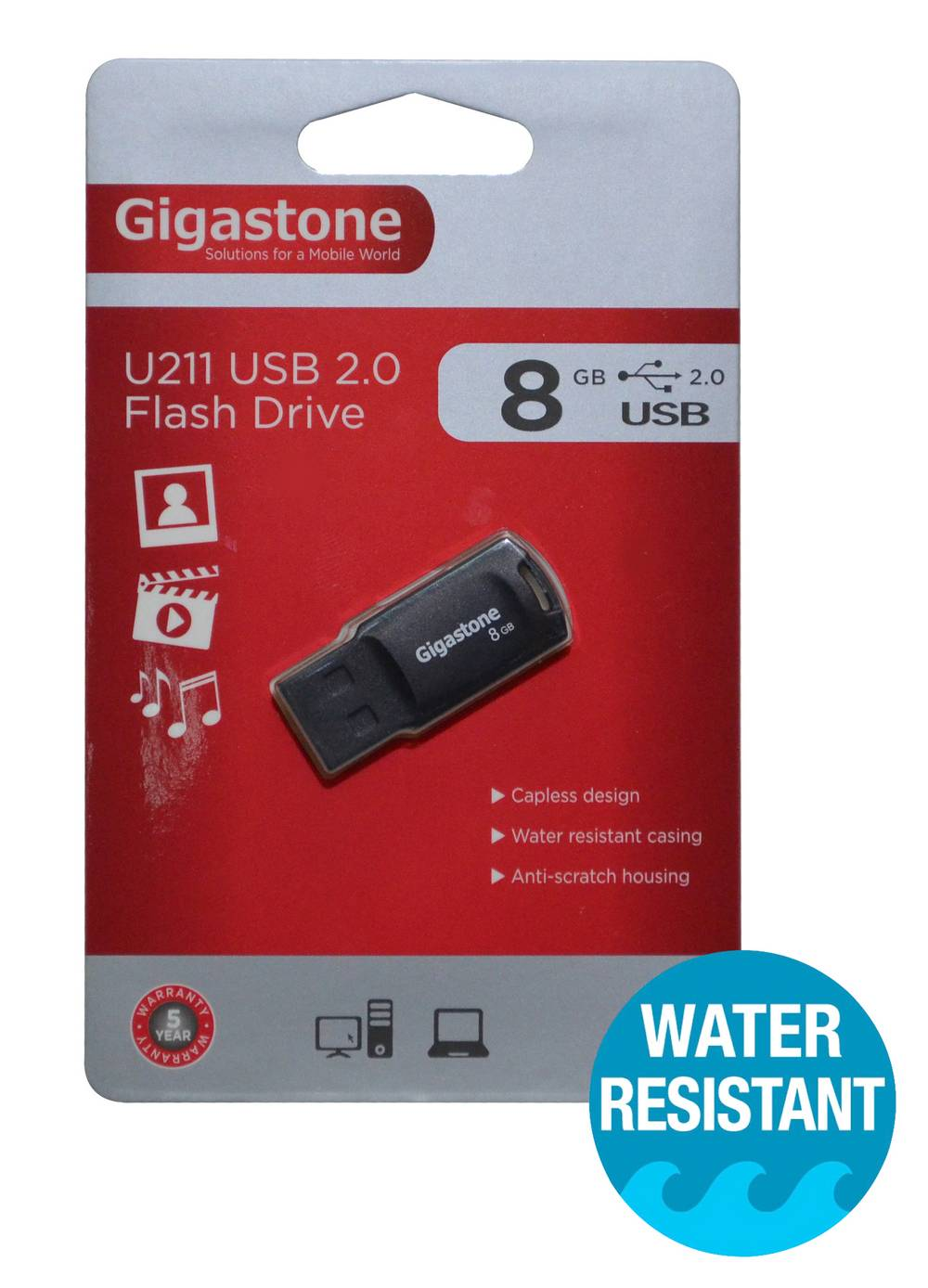 USB 2.0 Gigastone Flash Drive U211 Traveler 8GB Μαύρο