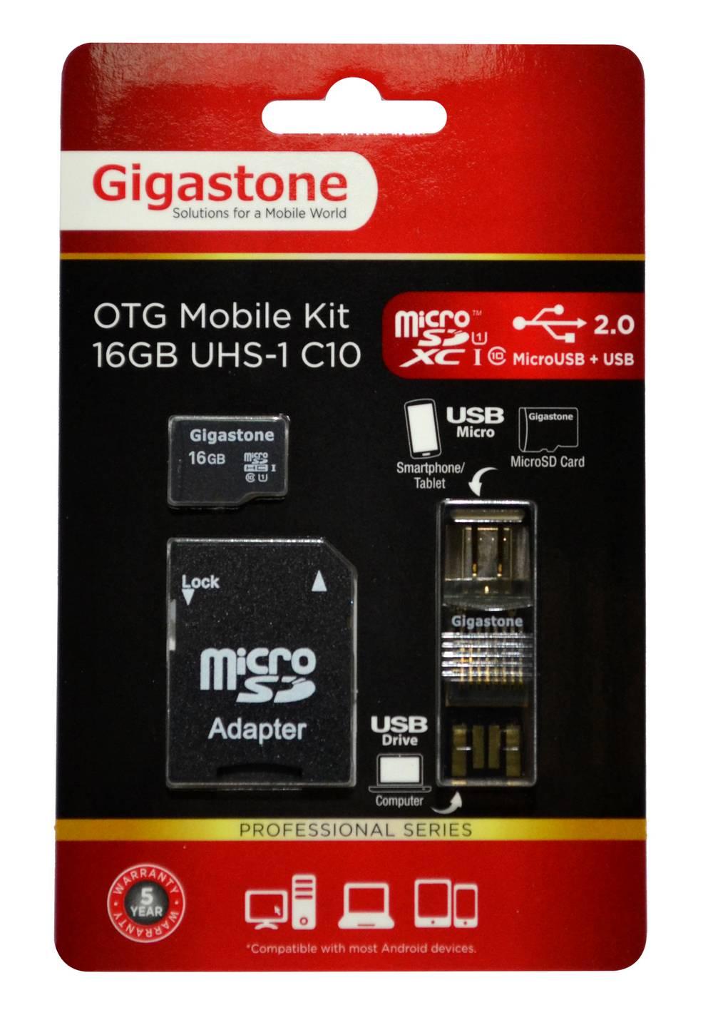 Κάρτα Μνήμης Gigastone MicroSDHC 16GB UHS-1 Class 10 Professional Series με SD Αντάπτορα + OTG Gigastone για Κάρτες Μνήμης Micro SD U102