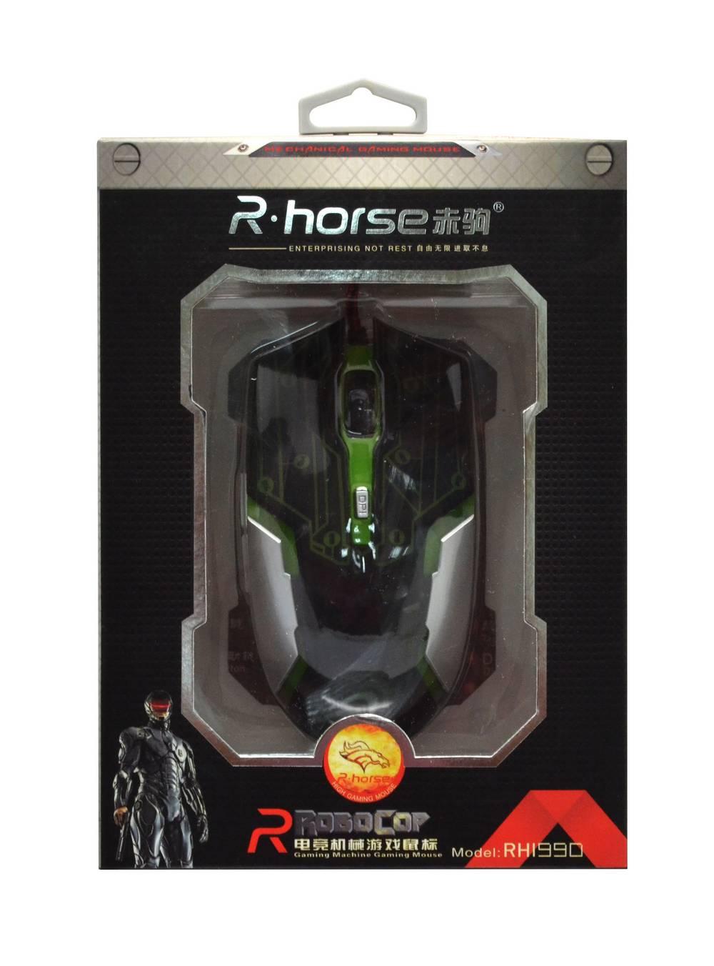 Ενσύρματο Ποντίκι R-horse RH-1990 Robocop Series 5 Πλήκτρων 3200 DPI Μαύρο - Πράσινο (120*70*35mm)
