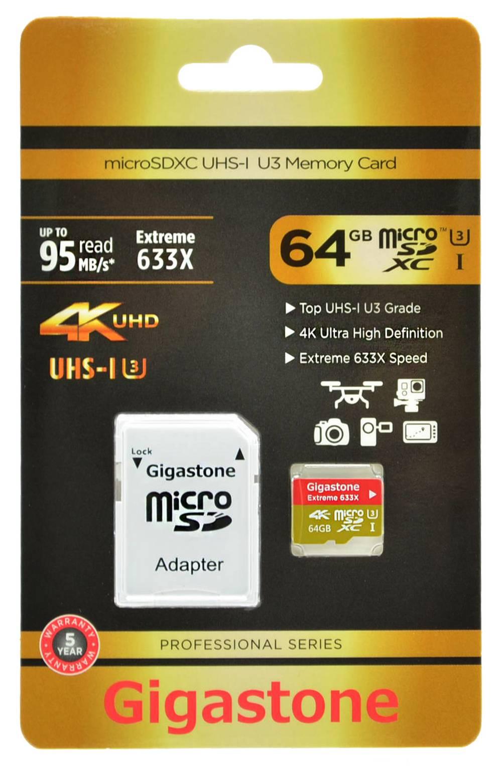 Κάρτα Μνήμης Gigastone MicroSDXC UHS-I U3 64GB U3 Extreme 633X Professional Series με SD Αντάπτορα