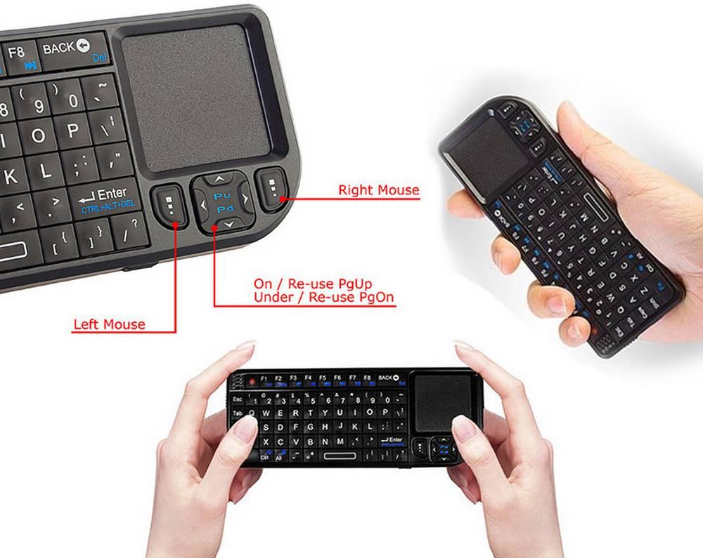 Πληκτρολόγιο Wireless Ultra Mini με Touchpad All-in-One για PC, SmartTV, Android TV Μαύρο