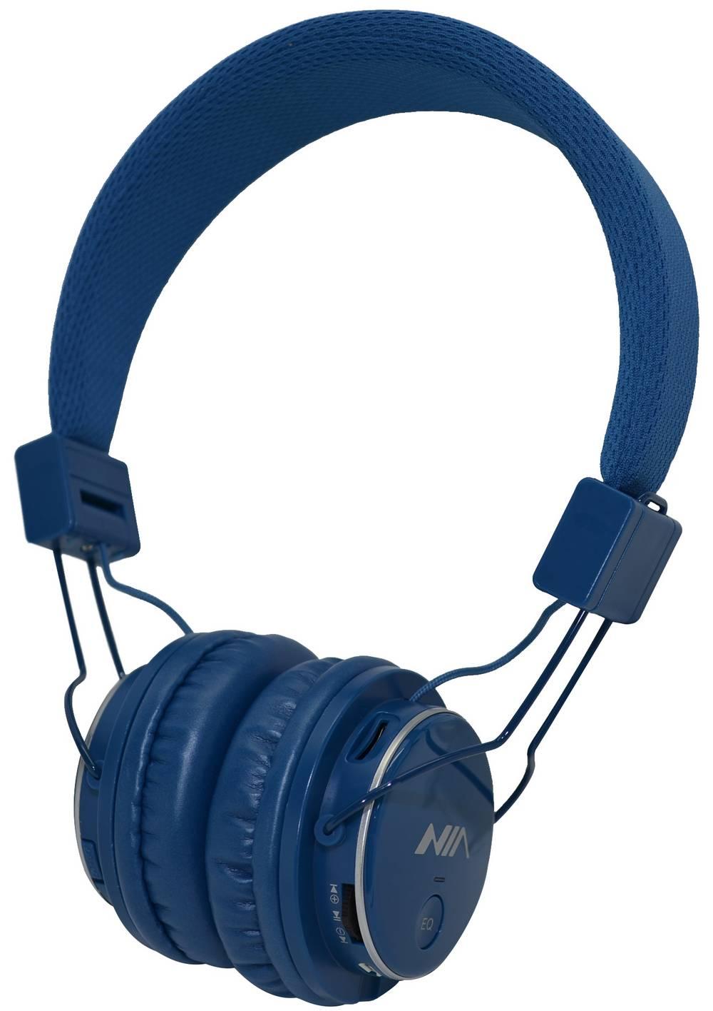 Ακουστικά Stereo NIA Foldable MRH-8809S 3.5 mm Μπλέ με Ραδιόφωνο FM και MP3 Player με Κάρτα Μνήμης Micro SD