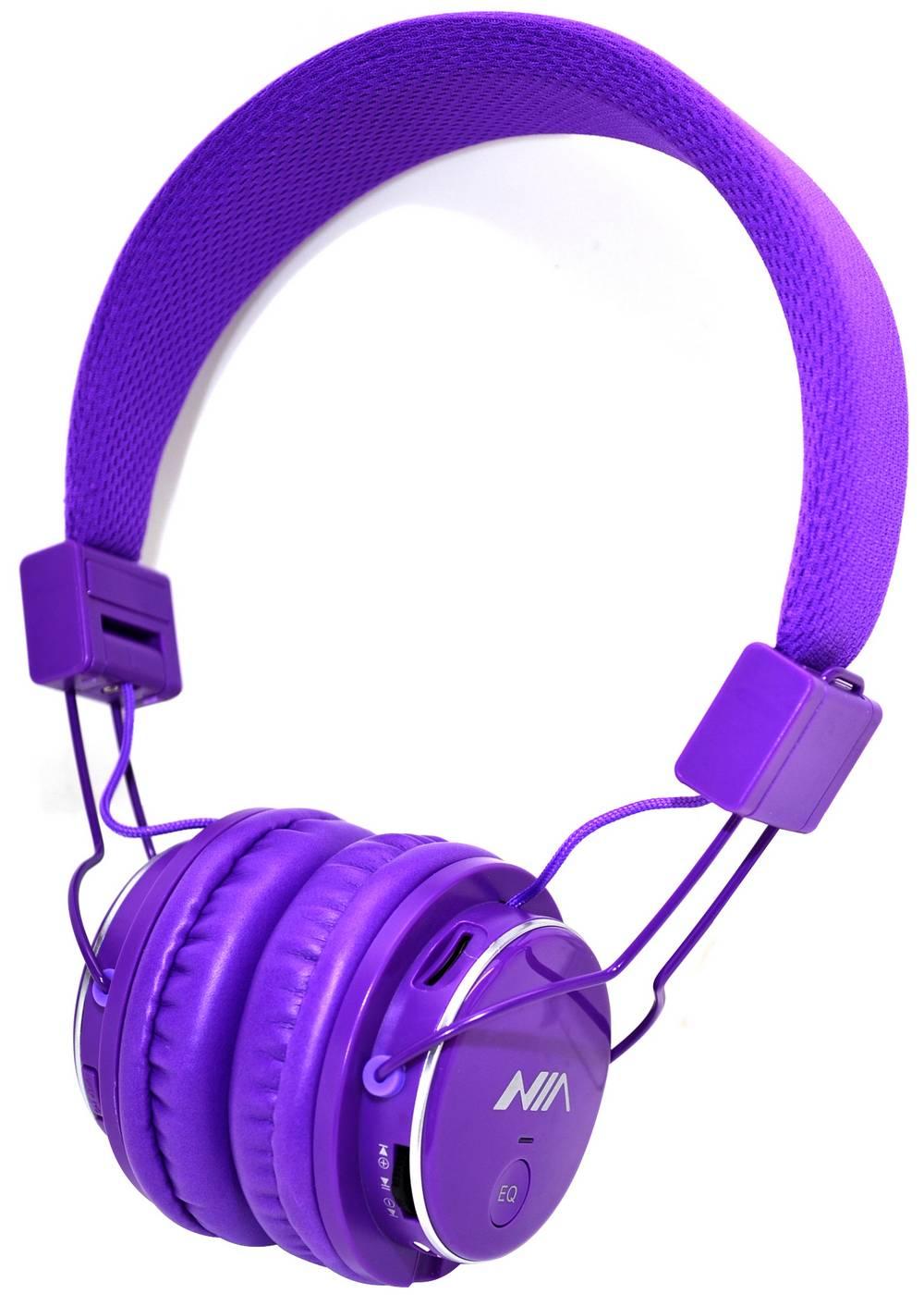 Ακουστικά Stereo NIA Foldable MRH-8809S 3.5 mm Μώβ με Ραδιόφωνο FM και MP3 Player με Κάρτα Μνήμης Micro SD