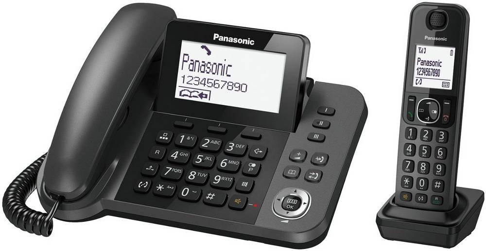 Σταθερό Ψηφιακό Τηλέφωνο Panasonic KX-TGF310EXM Μαύρο + Ασύρματο Ψηφιακό Τηλέφωνο με Υποδοχή Hands-Free