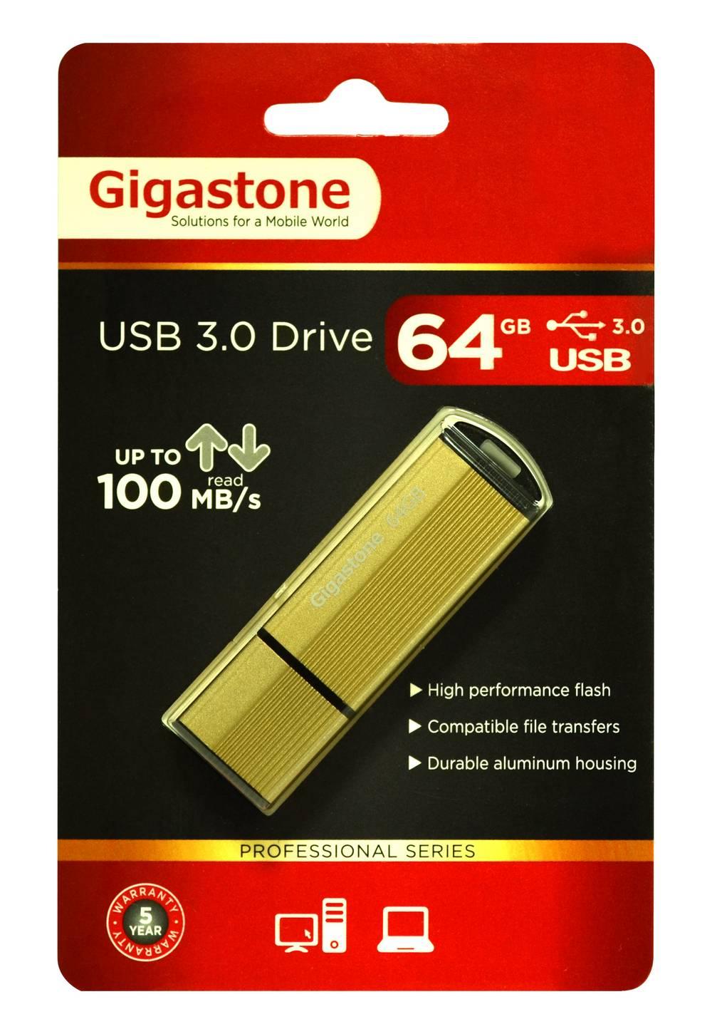 USB 3.0 Gigastone Flash Drive U303 64GB Χρυσαφί Professional Series Metal Frame