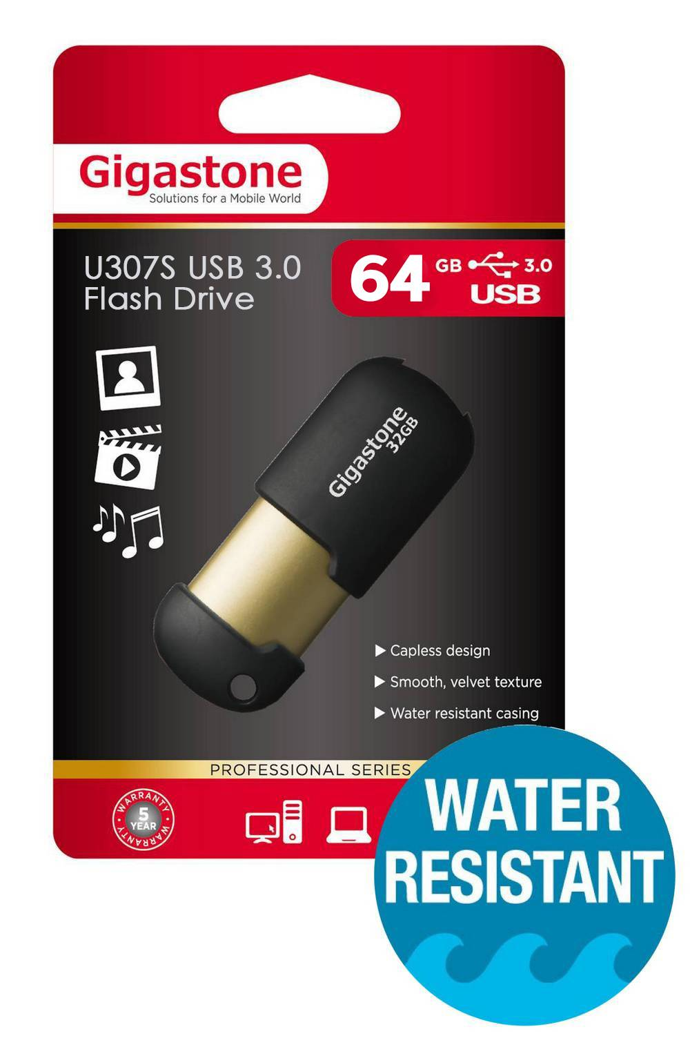 USB 3.0 Gigastone Flash Drive U307S 64GB Μαύρο Professional Series Metal Frame