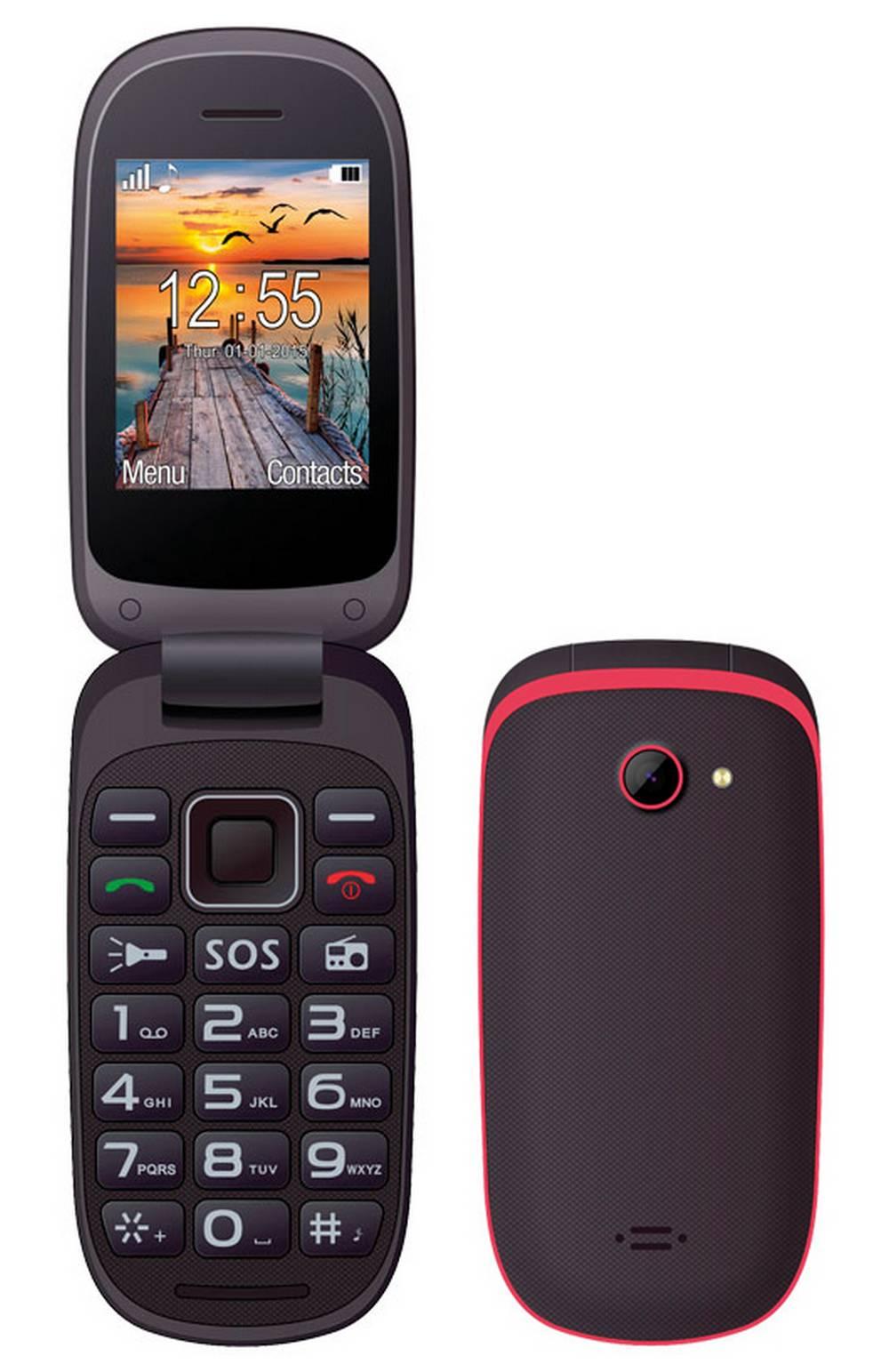 Maxcom MM818 (Dual Sim) με Μεγάλα Πλήκτρα, Ραδιόφωνο (Λειτουργεί χωρίς Handsfree) και Πλήκτρο Έκτακτης Ανάγκης Μαύρο-Κόκκινο